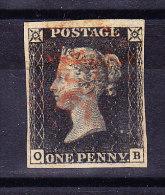 SG #1 - One Penny Black 1840 Gestempelt Platte VI Re-Entry - 1840-1901 (Victoria)