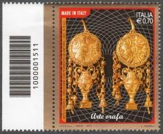 2013 ARTE ORAFA  0,70C. CODICE A BARRE MNH** - 6. 1946-.. Repubblica