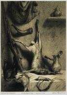 Chien- Journal Des Chasseurs ,  Mars 1954 - GRAVURE -  ETUDE DE NATURE MORTE - Chasse ? Rare - Engravings