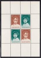 Surinam MH Scott #B95a Souvenir Sheet Of 4 American Indian Girl, Negro Girl - Child Welfare - Surinam