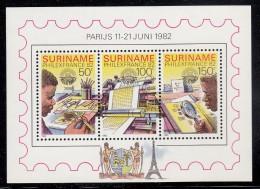 Surinam MNH Scott #602a Souvenir Sheet Of 3 Stamp Designing, Printing, Collecting - PHILEXFRANCE 82 - Surinam