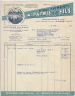 Bouches Du Rhône, Marseille, éponges En Gros, éponges Japonaises N. Patris 1954(voir Explications) - Chemist's (drugstore) & Perfumery