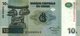 Congo 10 Franc 1997 Pick 87B UNC - Democratic Republic Of The Congo & Zaire