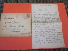 1942 Lettre >Olivieri JP Matricule 7464 Chantier De Jeunesse Collaboration Pétain Seul S Lettre>parents Pâtisserie - Marcophilie (Lettres)