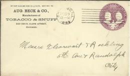 ESTADOS UNIDOS ENTERO POSTAL COLON PUBLICIDAD TABACO MAT CHICAGO 1893 - Tabaco