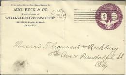 ESTADOS UNIDOS ENTERO POSTAL COLON PUBLICIDAD TABACO MAT CHICAGO 1894 - Tabaco