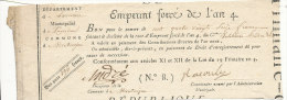 *EMPRUNT FORCE DE L'AN 4  BON POUR CENT QUATRE VINGT SEIZE FRANCS  (N 8) - Assignats