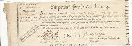 *EMPRUNT FORCE DE L'AN 4  BON POUR CENT QUATRE VINGT SEIZE FRANCS  (N 8) - Assignats & Mandats Territoriaux