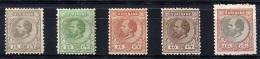 SURINAM 1889 - Mi.17-21 Compl. Set MNG (as Issued) VF - Surinam ... - 1975