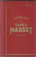 Agenda Des Cafés MASSET/Rue Sainte Catherine / BORDEAUX/ 1938 - Calendriers