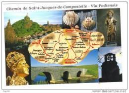 43.- Carte Des Chemins De Compostelle Le Puy, Conques... - Christianisme