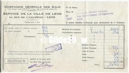 Facture Compagnie Générale Des Eaux - Service De La Ville De Lens à M. Binaut Georges - Epicerie - Lens Le 30 Juin 1958 - France