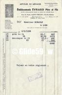 Facture Etablissements EVRARD Père Et Fils - Articles De Ménage - SAINT-VENANT Le 6-9-1958 - Francia
