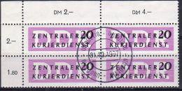 1957, ZKD - RDA - DDR, Bloc De 4 TP's Avec Coin, YT  44, Filigrane R, Oblitéré, Lot 41398 - Service