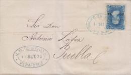 """G)1875 MEXICO, FRANCO EN VERACRUZ, """"J.M. DE SEVILLA"""" SEAL, HIDALGO ISSUE 25 CTS. VERACRUZ  50 75, CIRCULATED TO PUEBLA, - Mexique"""
