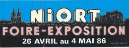 Exposition/ NIORT Foire-Exposition/ 26 Avril Au 4 Mai 86/ Années 1980     ACOL8 - Autocollants