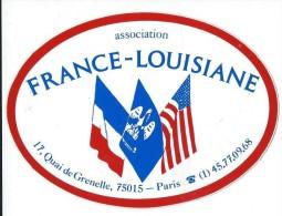 Association / France -Louisiane / Paris  / Années 1980     ACOL18 - Autocollants