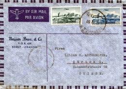 LIBANON 1941? - 10+25P Frankierung Auf LP-Brief Gelaufen Von Beirut Nach Zürich - Libanon