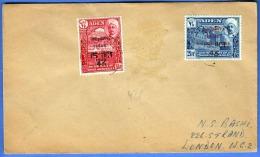 ADEN (Jemen) 1946 - 1,5+2,5 AS Sondermarken Mit Überdruck Auf Brief Nach London - Jemen