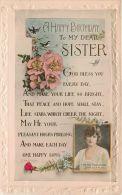 Birthday Greetings Postcard Sister Flowers Valentine's - Geburtstag