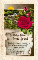 Birthday Greetings Postcard Friend Flowers RP - Geburtstag