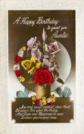 Birthday Greetings Postcard Auntie Flowers RP - Geburtstag