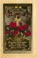 Birthday Greetings Postcard Flowers WBL Academy Hand-coloured - Geburtstag
