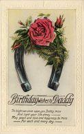 Birthday Greetings Postcard Flowers Horseshoe Daddy - Geburtstag
