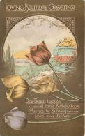 Birthday Greetings Postcard Flowers - Geburtstag