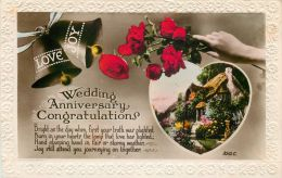 Marriage Wedding Anniversary Greetings Postcard Art Photo RP - Marriages