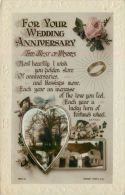 Wedding Anniversary Marriage Greetings Postcard Rotary RP Flowers - Marriages