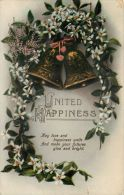 United Happiness Wedding Marriage Greetings Postcard Used Posted To UK 1914 Stamp Flowers - Marriages