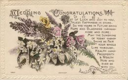 Wedding Congratulations Marriage Greetings Postcard Used Posted To UK 1919 Stamp J Beagles Flowers - Marriages
