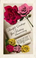 Wedding Anniversary Marriage Greetings Postcard Used Posted To UK 1937 Stamp RP Flowers - Marriages
