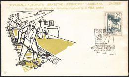"""Yugoslavia 1958, Illustrated Cover """"Highway Ljubljana To Zagreb"""" W./ Special Postmark """"Novo Mesto"""", Ref.bbzg - Covers & Documents"""