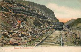 Culebra Cut Freight Railway And Train Cars, Panama Postcard Used Posted To UK 1913 JAMAICA Nice Stamp - Panama