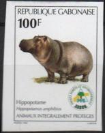 GABON Poste 955 ** MNH Non Dentelé Imperforated : Hippopotame Nilpferd Animaux Protégés - Gabon