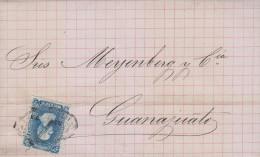 G)1875 MEXICO, COMPLETE LETTER, FRANCO EN QUERETARO, HIDALGO ISSUE 25 CTS. QUERETARO 35 75, CIRCULATED TO GUANAJUATO, XF - Mexico
