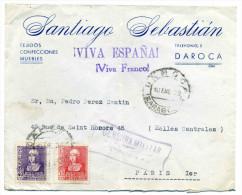 Lettre WW2  Avec  CENSURA MILITAR + Message VIVA ESPANA , VIVA FRANCO !!!  / 1939 / De ZARAGOSSA - Marcas De Censura Nacional