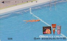 Télécarte Japon 7/11 - 5006 - Femme Pub GLACE ** ONE PUNCH ** - BIKINI GIRL & ICE CREAM Japan Phonecard - Frau & Eis - Publicité