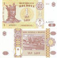 MOLDOVA MOLDAVIA BANCONOTA FDS UNC 1 LEU 2010 - Moldavia