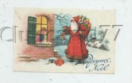 Noêl (Fêtes-Voeux) : Illustration Du Père Noël Tenant Un Pantin Devant Une Fenêtre Env 1957 (animé) - Noël