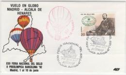 SPAGNA - 1990 - VUELO EN GLOBO MADRID - ALCALA DE HENARES - XXII FERIA NACIONAL DEL SELLO - FDC