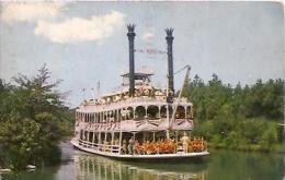 "DISNEYLAND:  POSTCARD FRONTIERLAND ""MARK TWAIN"". CIRCULATED 1961. GECKO - Disneyland"