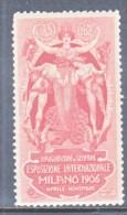 ITALY  AAMC  1 VIGNETTE   AEROPHILATELIC  CONCORSI  AEREI  EXPO.  INTL. MILANO  1906  * - 1900-44 Vittorio Emanuele III