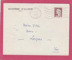 DECARIS 25C SUR ENV ACADEMIE D ALGER CAD LA REDOUTE 7/12/60 POUR LORGUES - Algeria (1924-1962)