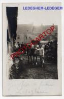 LEDEGEM-Quartier Allemand-Vue De Derriere-Chevaux-Animatio N-CARTE PHOTO Allemande-Guerre 14-18-1WK-BELGIEN-Flander N- - Ledegem