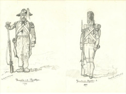 Dessin Au Crayon Lot De 4:uniformes Armée Francaise Grenadier (2) Chevalier, Officier Cavalerie Militaria - Drawings