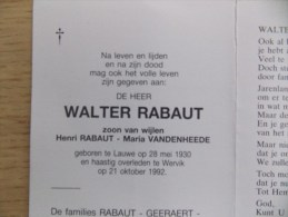 Doodsprentje Walter Rabaut Lauwe 28/5/1930 Wervik 21/10/1992 ( Z.v. Henri En Maria Vandenheede ) - Religión & Esoterismo