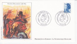 EUGENE DELACROIX, La Liberté Guidant Le Peuple, Sabine, Dessin De Enrico Venturi,  FDC 04/01/1982 - FDC
